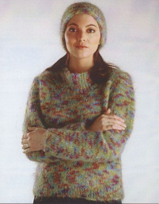 Knitting Patterns Mohair Wool : Naturally Scoop-Neck Sweater & Hat