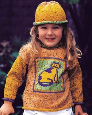 Naturally Sweater with Cat Design and Hat