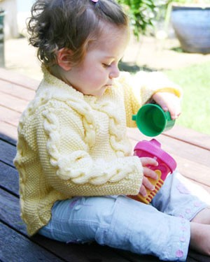 Naturally Child's Cable and Moss Stitch Sweater