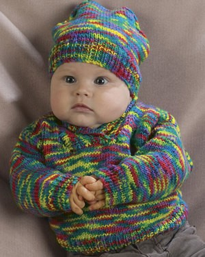Naturally Infant's Shawl-Collared Pullover and Hat