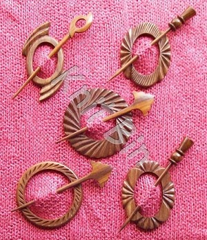 Carved Shawl Pins, Sheesham Wood