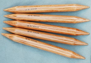 "Surina 9"" Wooden Double Point Needles, Jumbo Sizes"
